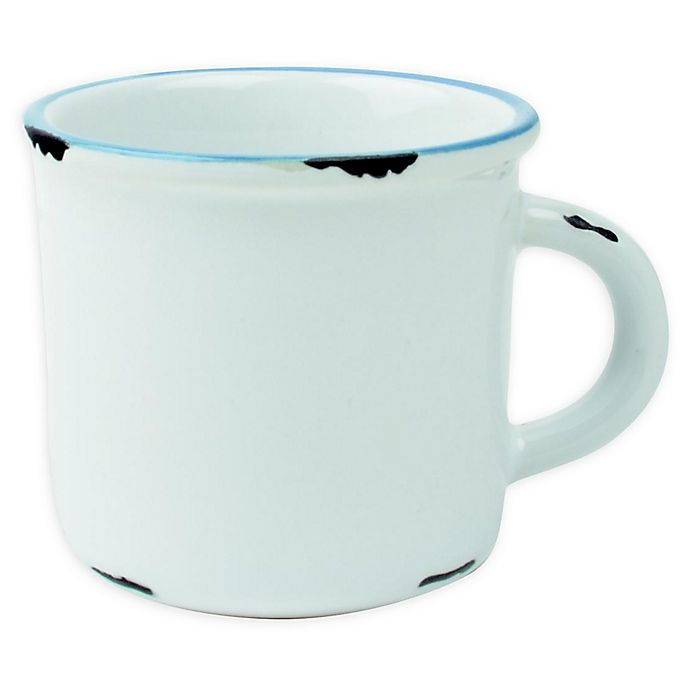 Alternate image 1 for canvas home™ Tinware Espresso Mugs in White/Blue (Set of 4)