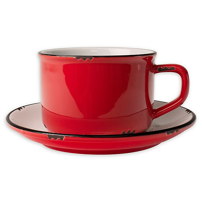 Alternate image 1 for canvas home™ Tinware Cup and Saucer in Red