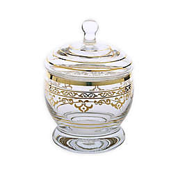 Classic Touch Glim Glass Jar with Lid in Gold