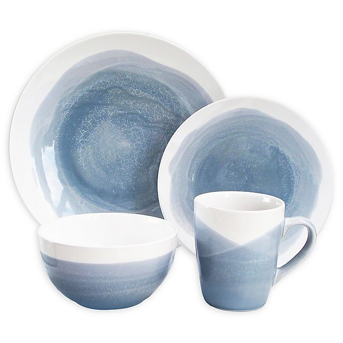 Alternate image 1 for American Atelier Osais 16-Piece Dinnerware Set in Blue