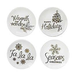 American Atelier Holiday Greetings Gold Salad Plates (Set of 4)