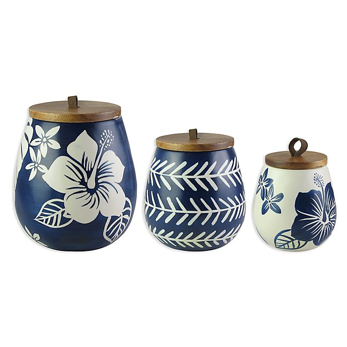 Alternate image 1 for American Atelier 3-Piece Floral Canister Set in Blue