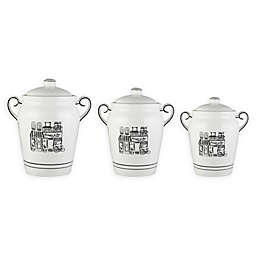 Elle Le Bistro 3-Piece Canister Set in White