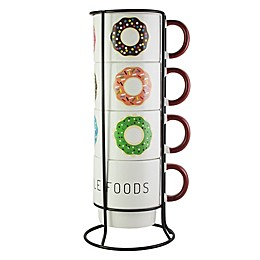 American Atelier Donuts 5-Piece Mug Set with Rack
