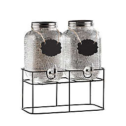 Style Setter Jacob Double Hammered Glass Beverage Dispensers with Stand