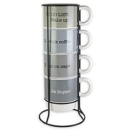 American Atelier Coffee 5-Piece Mug Set with Rack