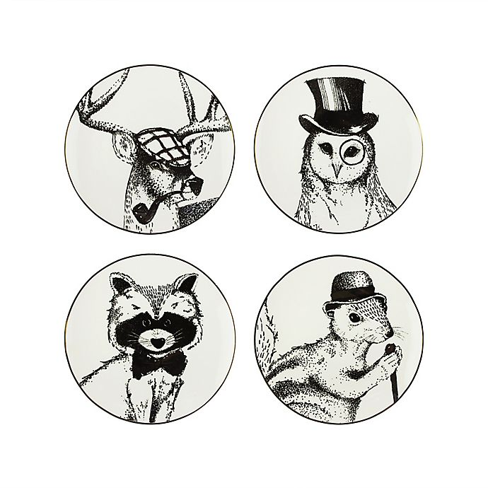 Alternate image 1 for American Atelier Holiday Animals Salad Plates in Gold/Black (Set of 4)