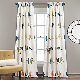 Lush Decor Rowley Birds 84-Inch Rod Pocket Room Darkening Window Curtain Panel Pair in Blue/Ivory