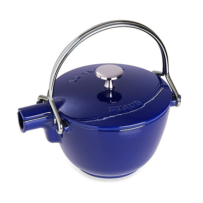Alternate image 1 for Staub Round Cast Iron 1-Quart Teapot/Kettle in Dark Blue