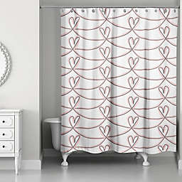 Designs Direct Pink Hearts Shower Curtain in Pink