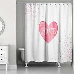 Designs Direct Pink Polkas Shower Curtain in White