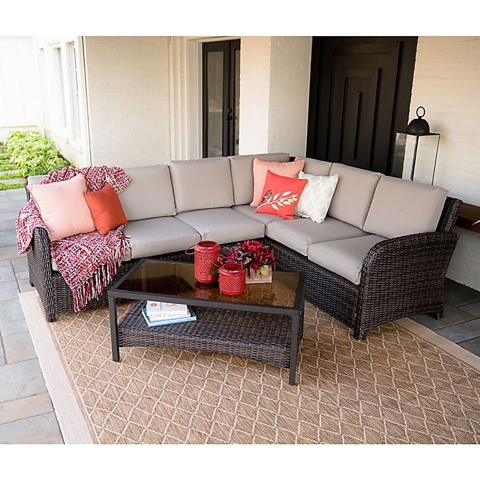 Alternate image 1 for Leisure Made Jackson 5-Piece Outdoor Sectional in Tan