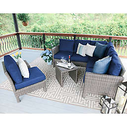 Leisure Made Canton 6-Piece Outdoor Sectional Set in Navy