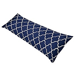 Sweet Jojo Designs® Navy And White Trellis Body Pillowcase in Navy