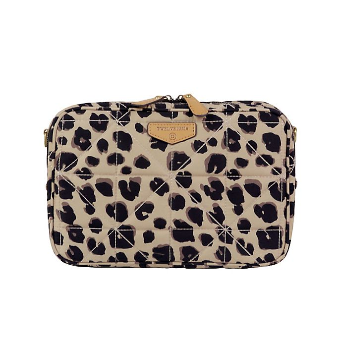 Alternate image 1 for TWELVElittle Leopard Diaper Clutch in Brown