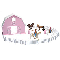 New-Ray Barn Horse Set in Pink