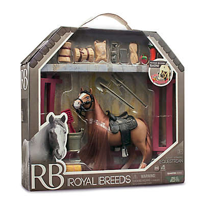 Lanard Toys Royal Breeds 21-Piece Equestrian Play Set in Brown