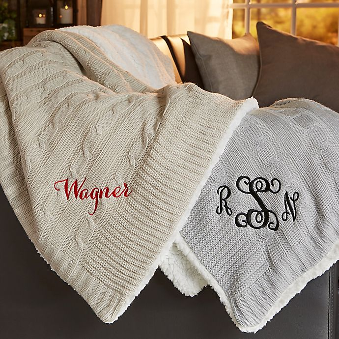 Blanket Personalized Monogrammed Throw Blanket w// Embroidery Keep Warm