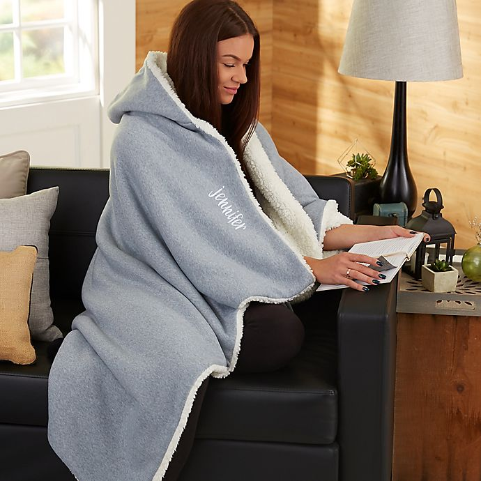 Alternate image 1 for Sherpa Hooded Throw Blanket in Grey
