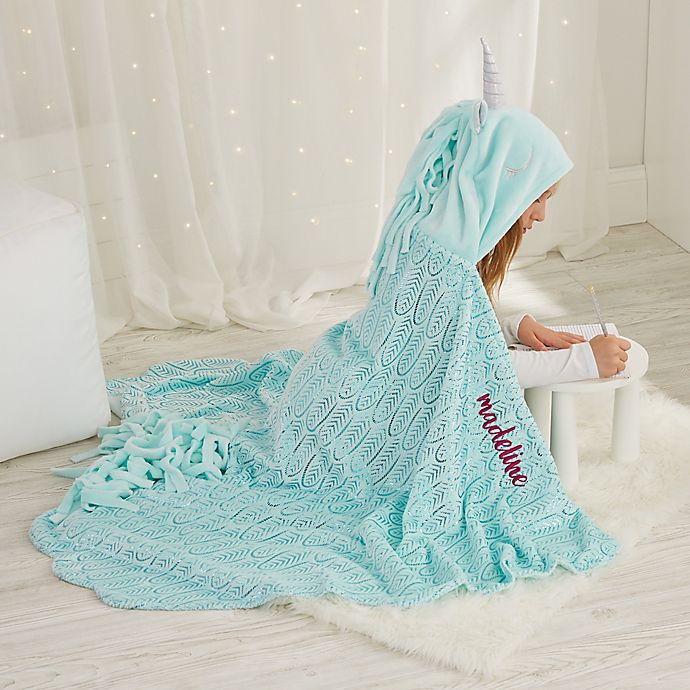 Alternate image 1 for Hooded Unicorn Throw Blanket in Aqua