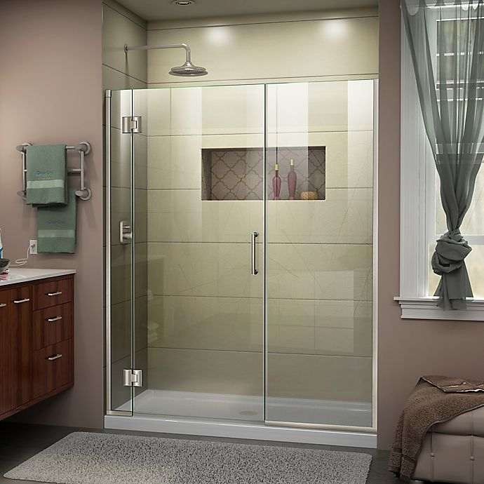 Dreamline Unidoor X 62 5 63 W 72 H Frameless Hinged Shower Door In Brushed Nickel