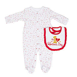 "Sterling Baby ""My 1st Valentine's Day"" 2-Piece Bib and Footie Set in Red/Pink"