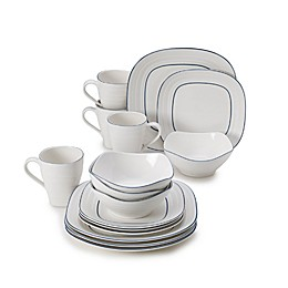 Mikasa® Swirl Square Banded 16-Piece Dinnerware Set in Blue