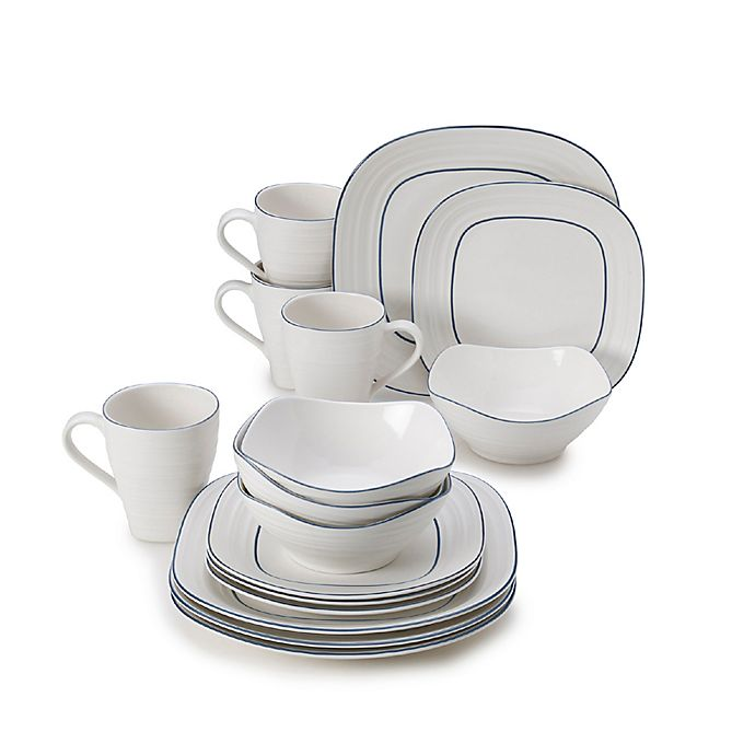 Alternate image 1 for Mikasa® Swirl Square Banded 16-Piece Dinnerware Set in Blue