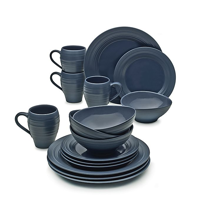 Alternate image 1 for Mikasa® Swirl 16-Piece Dinnerware Set in Blue