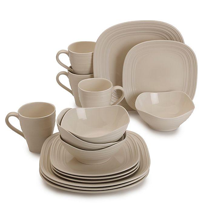 Alternate image 1 for Mikasa® Swirl Square 16-Piece Dinnerware Set in Cream