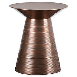 Simpli Home Sheridan Metal Accent Table in Aged Copper
