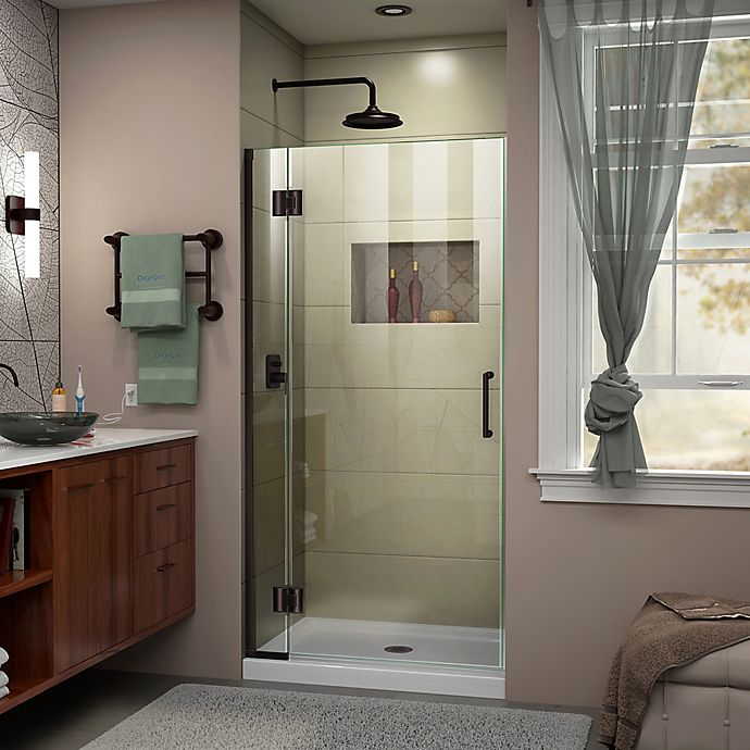 Dreamline Unidoor 34 Inch Frameless Hinged Shower Door In Satin Black