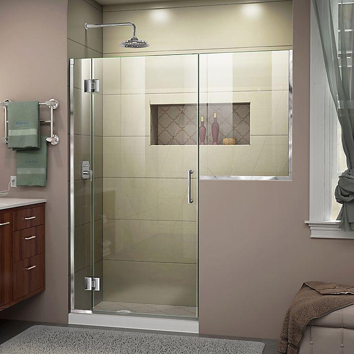 Alternate image 1 for DreamLine® Unidoor-X 58-58.5-Inch x 72-Inch Frameless Hinged Shower Door in Chrome