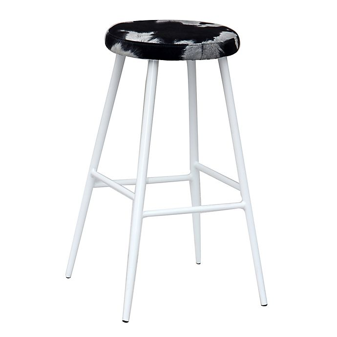 Alternate image 1 for ACEssentials® Cow Print Backless Bar Stool in Black/White