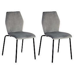 Acessentials® Ash Velvet Stacking Dining Chairs in Black/Grey (Set of 2)