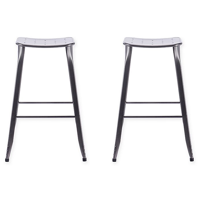 Alternate image 1 for Acessentials® Bar Stools in Grey (Set of 2)