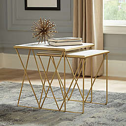 Belview Set of 2 Marble and Metal Nesting Tables in Gold