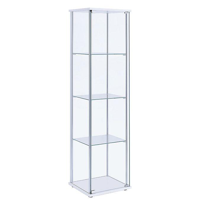 Alternate image 1 for Chandler 3-Tier Curio Cabinet in White/Chrome