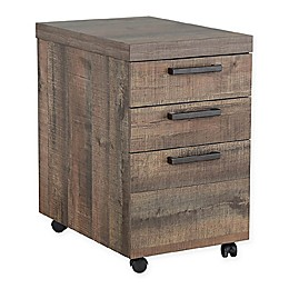 Pineville Mobile File Cabinet in Weathered Oak