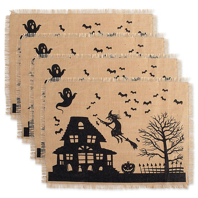 Alternate image 1 for Design Imports Haunted House Print Burlap Placemats (Set of 4)