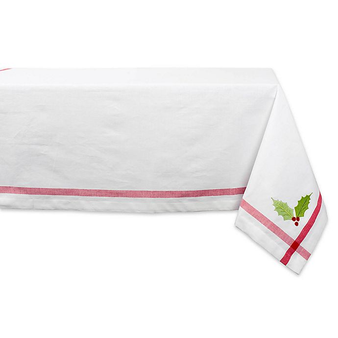 Alternate image 1 for Design Imports 60-Inch x 84-Inch Holly Tablecloth in White