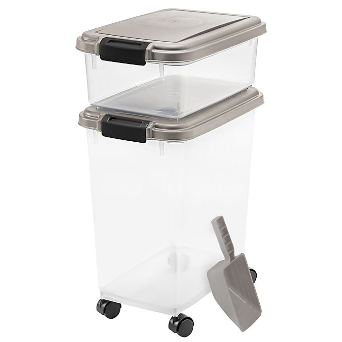 Alternate image 1 for IRIS® 3-Piece Airtight Pet Food Container Combo in Chrome