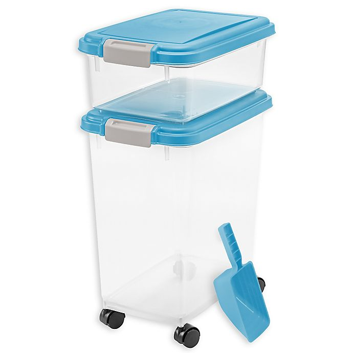 Alternate image 1 for IRIS® 3-Piece Airtight Pet Food Container Combo in Blue