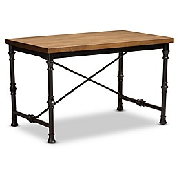 Baxton Studio Amista Criss Cross Desk in Dark Oak/Bronze