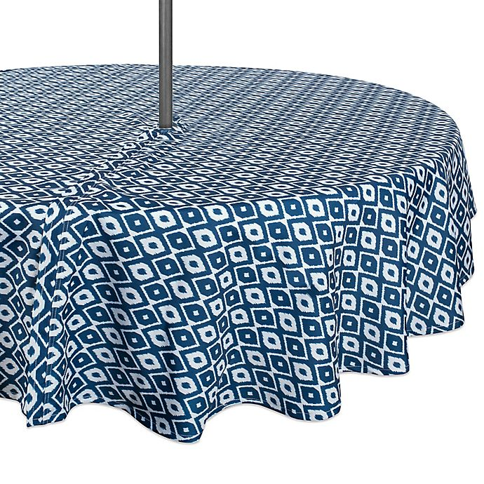 Alternate image 1 for Design Import Ikat 60-Inch Round Outdoor Tablecloth in Blue