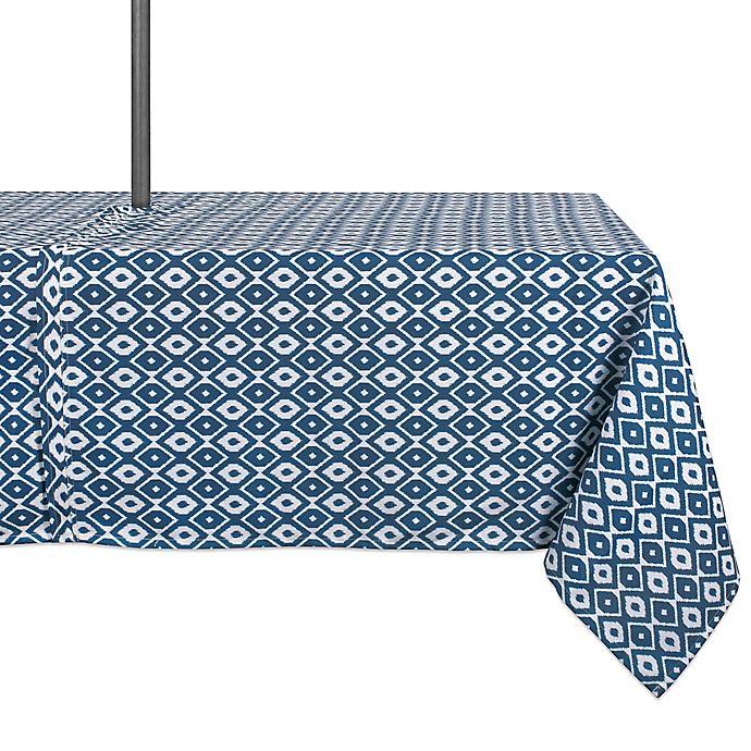 Alternate image 1 for Design Import Ikat Indoor/Outdoor Tablecloth in Blue