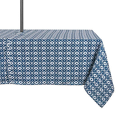 Design Import Ikat Outdoor Tablecloth in Blue