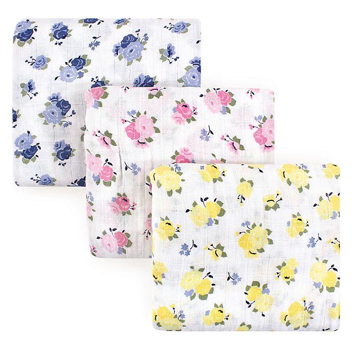 Alternate image 1 for Luvable Friends 3-Pack Floral Muslin Swaddle Blanket