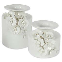 A&B Home Ceramic Floral Vase in White