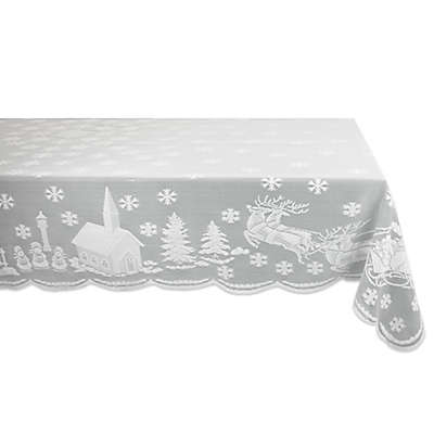 Design Imports Snow Village Lace Tablecloth in White